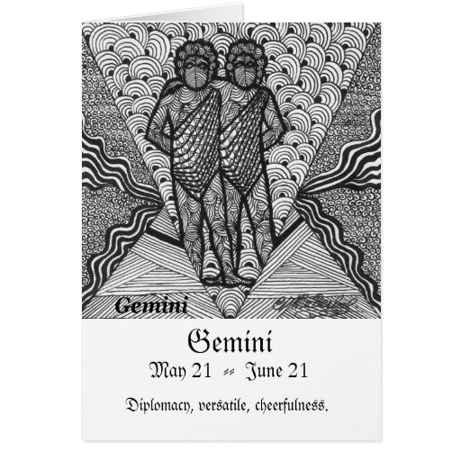 Géminis (muestra del zodiaco) tarjeta de felicitación