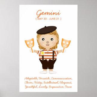 Géminis - poster del horóscopo del chica