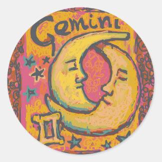 Géminis, productos adaptables de la astrología pegatina redonda