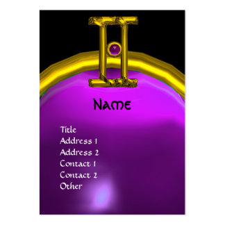 GÉMINIS, púrpura negra brillante del MONOGRAMA del Tarjetas De Visita Grandes
