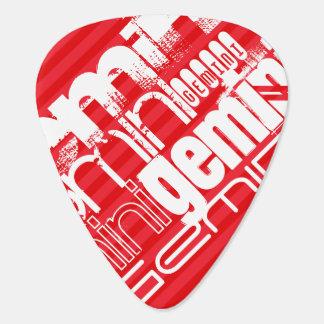 Géminis; Rayas del rojo del escarlata Púa De Guitarra