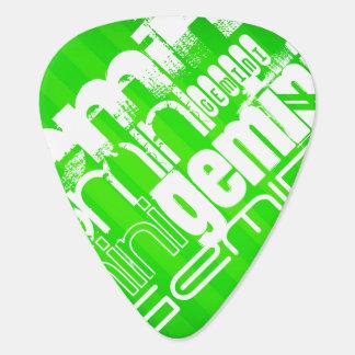 Géminis; Rayas verdes de neón Uñeta De Guitarra