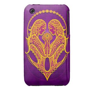 Géminis tribales púrpuras y amarillos complejos Case-Mate iPhone 3 funda
