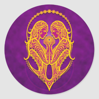 Géminis tribales púrpuras y amarillos complejos pegatina redonda