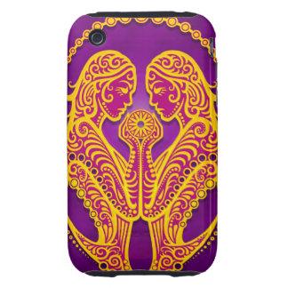Géminis tribales púrpuras y amarillos complejos, tough iPhone 3 protector
