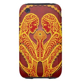 Géminis tribales rojos de oro complejos, iPhone 3 tough fundas
