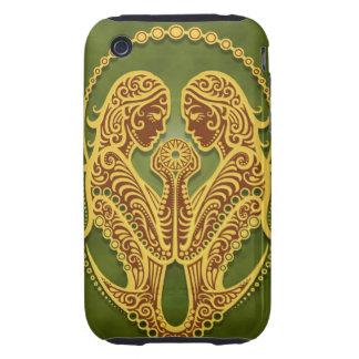 Géminis tribales verdes complejos, firmemente iPhone 3 tough cobertura