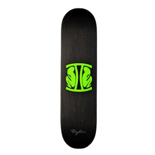 Géminis verdes chartreuses, de neón tabla de patinar