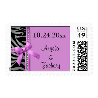Gems And Hot Pink Bow With Silver Zebra Stripes Stamps
