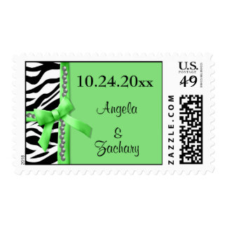 Gems And Lime Green Bow With White Zebra Stripes Postage