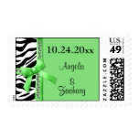 Gems And Lime Green Bow With White Zebra Stripes Stamp