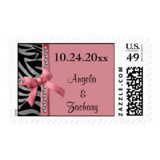 Gems And Pink Bow With Silver Zebra Stripes Postage