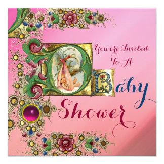 GEMS AND PINK GOLD FLORAL STORK GIRL BABY SHOWER CARD