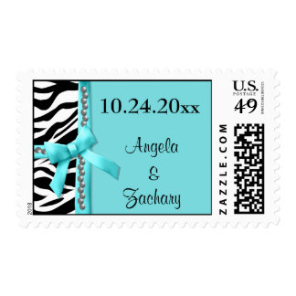 Gems And Teal Bow With White Zebra Stripes Postage