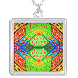 Gems n Jewels - Green Blue Red Golden Square Pendant Necklace