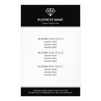 Gemstone Diamond Logo Black White Modern Look Flyer