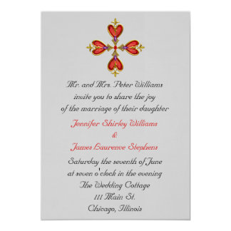 Gemstone Heart Cross Wedding Invitation