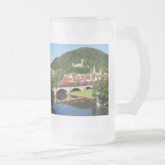 Gemünden at the Main bridge over the Frankish Frosted Glass Beer Mug