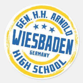 Gen HH Arnold High School Blue and Gold Classic Round Sticker