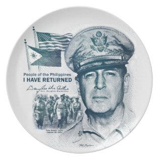 Gen. MacArthur I Have Returned (Bluegreen Print) Dinner Plate