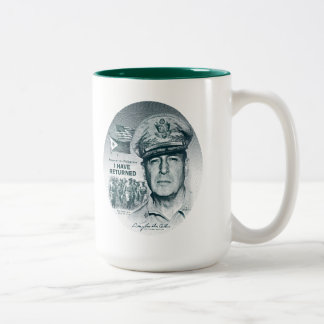 Gen. MacArthur I Have Returned (Bluegreen Print) Two-Tone Coffee Mug