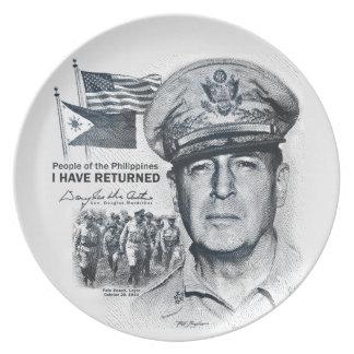Gen. MacArthur I Have Returned (Dark Print) Melamine Plate