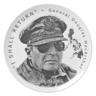 Gen. MacArthur I Shall Return (Black Print) Party Plate