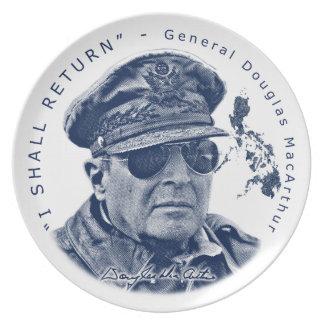 Gen. MacArthur I Shall Return (Blue Print) Party Plates