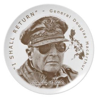 Gen. MacArthur I Shall Return (Sepia Print) Melamine Plate