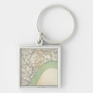 Gen map IV Silver-Colored Square Keychain