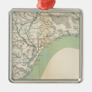 Gen map IV Square Metal Christmas Ornament