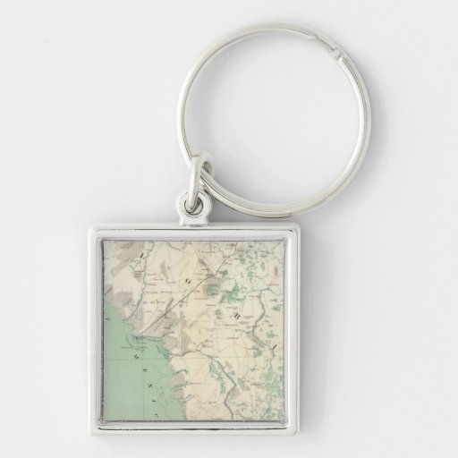 Gen map XI Silver-Colored Square Keychain