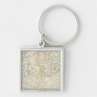 Gen map XIII Silver-Colored Square Keychain