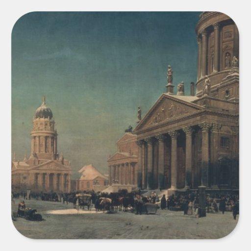 Gendarmenmarkt en invierno, 1857 colcomanias cuadradass