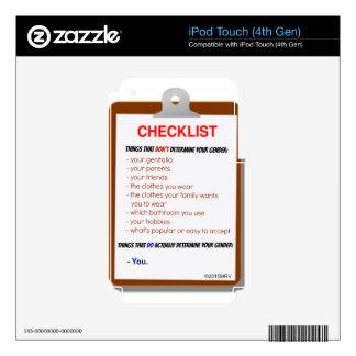 Gender Checklist Decals For iPod Touch 4G