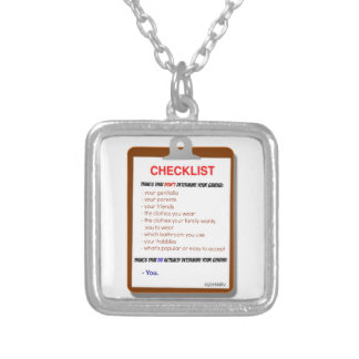 Gender Checklist Silver Plated Necklace