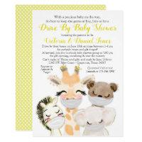 Gender Neutral Animals Masks Drive By Baby Shower Invitation