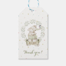 Gender Neutral Baby Elephant Green Beige Gift Tags
