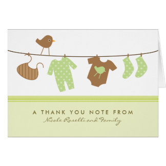 Gender Neutral Baby Laundry Thank You Card (green)