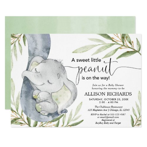 Gender neutral baby shower elephant greenery gold invitation
