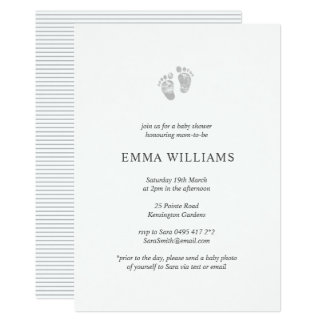 Gender Neutral Baby Shower Invitation Footprint