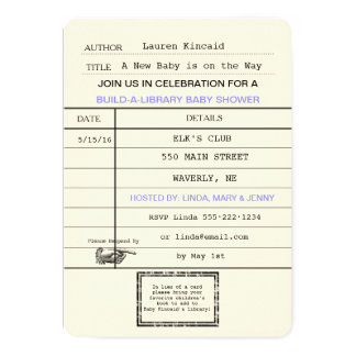 Gender Neutral Baby Vintage Library Card Shower
