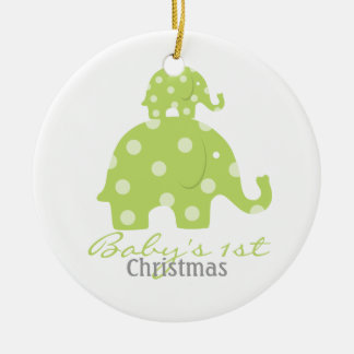Gender neutral baby's first christmas - elephants ceramic ornament