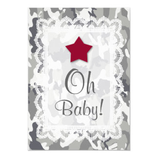 GENDER NEUTRAL Camouflage Lace Baby Shower A01E Card