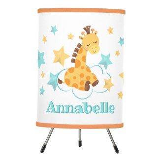 Gender Neutral Cute Giraffe & Stars Monogram Baby Tripod Lamp