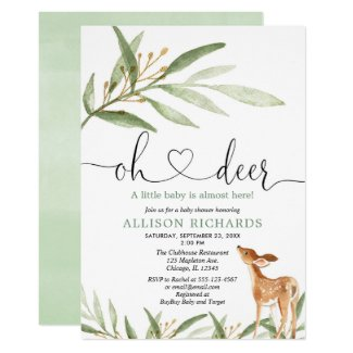 Gender neutral deer woodland greenery baby shower invitation