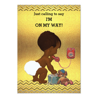 Gender Neutral Ethnic Baby on Phone Gold Chevrons Card