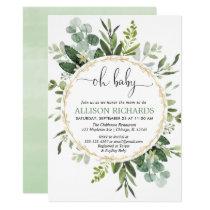 Gender neutral Eucalyptus greenery oh baby shower Invitation