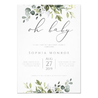 Gender Neutral Eucalyptus Greenery Oh Baby Shower Invitation