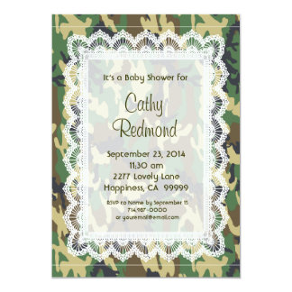 GENDER NEUTRAL Green Camo Lace  Baby Shower V11 Card